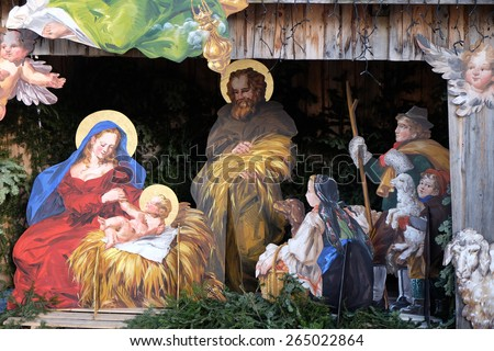 ST. GILGEN, AUSTRIA - DECEMBER 14: Nativity scene, creche or crib, is a depiction of the birth of Jesus in St. Gilgen on Wolfgang See lake, Austria on December 14, 2014. - stock photo