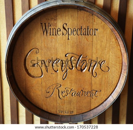ST. HELENA, CA - MARCH 27:The Wine Spectator Greystone Restaurant at the Culinary Institute of America on March 27, 2013 in Napa Valley. It is a not-for-profit academic institution in cooking - stock photo