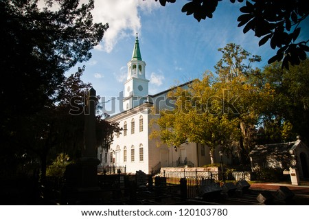 St Helena's Episcopal church in beaufort South Carolina. Church was founded in 1712 and is oldest in the city. - stock photo