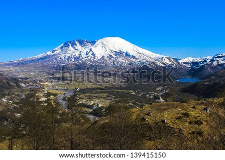 St.Helens volcano, last erupted in 1980 - stock photo