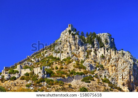 St. Hilarion Castle in Kyrenia, North Cyprus. - stock photo