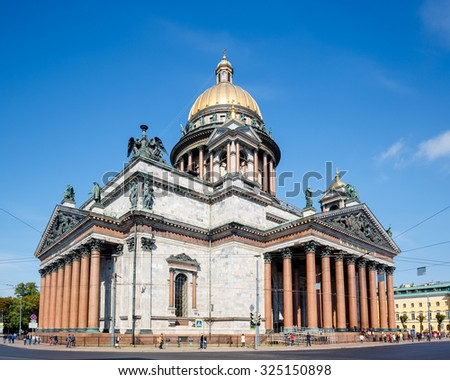 St. Isaac Cathedral in Saint Petersburg city, build 1858, national heritage of Russia