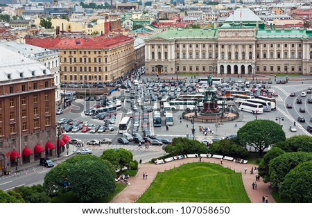 St. Isaac's Square and the monument to Nicholas I in St. Petersburg, Russia - stock photo