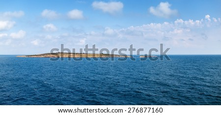St. Ivan Island in Bulgaria on the Black Sea. Bright sunny day. Panoramic shot. - stock photo