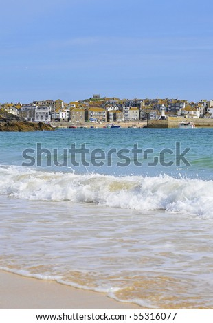St Ive's, Cornwall, UK. view from Porthminster beach. - stock photo