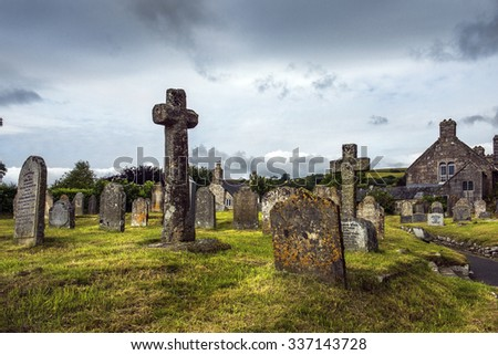 St Ives, Cornwall, England - JULY 31: old cemetery near the chapel of St. Ives Parish Church, West Somerset on July 31, 2015 in St Ives, Cornwall, England - stock photo