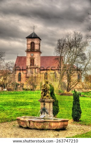 St. Jacques Majeur church in Osthoffen - Bas-Rhine, France - stock photo