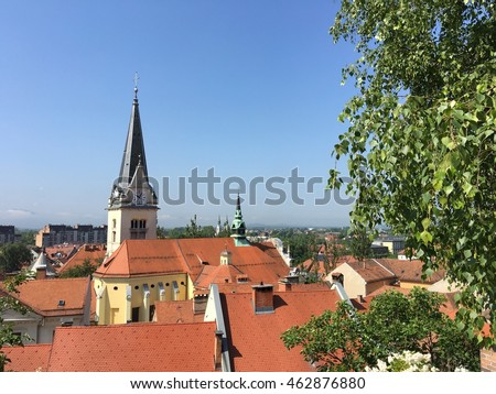 St. James and St. Florians church in old town of Ljubljana Slovenia