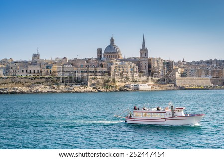 St John Co Cathedral on the Grand Harbour in Valletta - stock photo