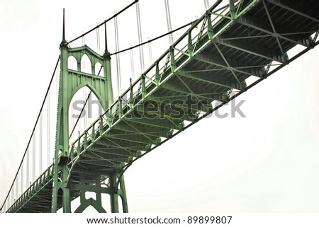St. John's Bridge spanning the width of the Columbia River in Oregon. - stock photo