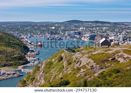 St. John's, capital of Newfoundland Labrador, NL, Canada, harbor and downtown seen from signal hill - stock photo