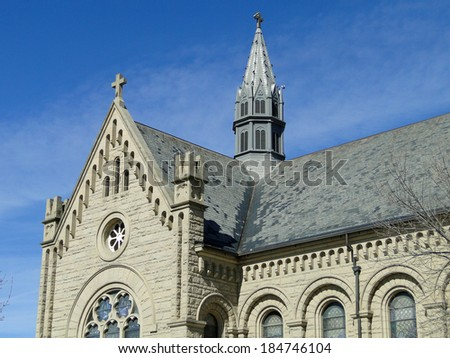 St. John's Cathedral is a historic and well known landmark in Boise, Idaho constructed between 1909-1916.                                - stock photo