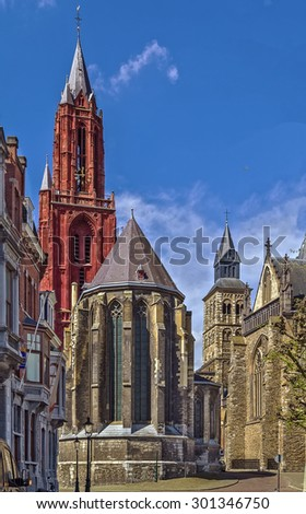St. John's Cathedral located in Maastricht historic center The 13th century gothic church was built with red stones, Netherlands.     - stock photo