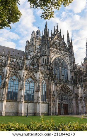 St. John's Cathedral viewed from the north, Den Bosch, the Netherlands  - stock photo