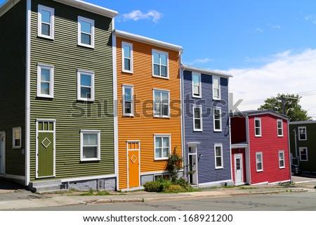 St. John's Newfoundland- Jellybean homes - stock photo
