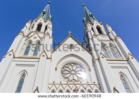 st. johns cathedral in Savannah Georgia - stock photo
