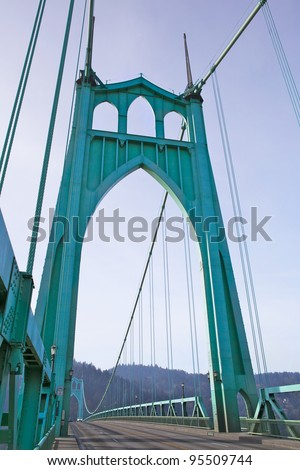 St. Johns Towers on steel suspension bridge in Portland, OR - stock photo