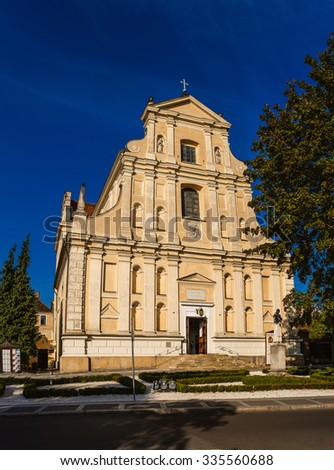 St Joseph Church - the Discalced Carmelites in Poznan. Poznan is a city on the Warta river in west-central Poland, in the region called Wielkopolska (Greater Poland). - stock photo