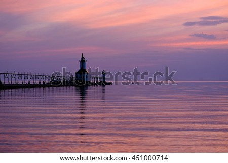 St. Joseph North Pier Lights, built in 1906-1907, Lake Michigan, MI, USA - stock photo