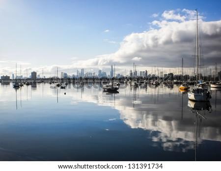 St.Kilda pier reflection - stock photo