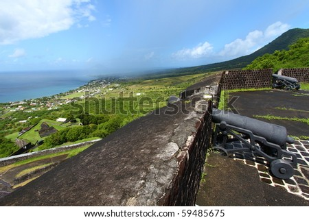 St Kitts seen from Brimstone Hill Fortress National Park - stock photo