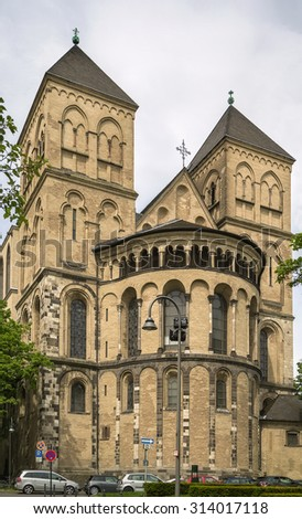St. Kunibert is the youngest of the Twelve Romanesque churches of Cologne and was consecrated 1247 - stock photo