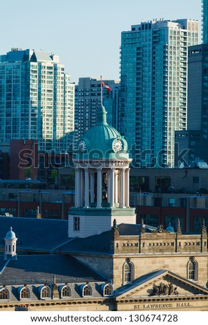 St.Lawrence Hall tower and hi-rise condos, downtown Toronto, Canada - stock photo