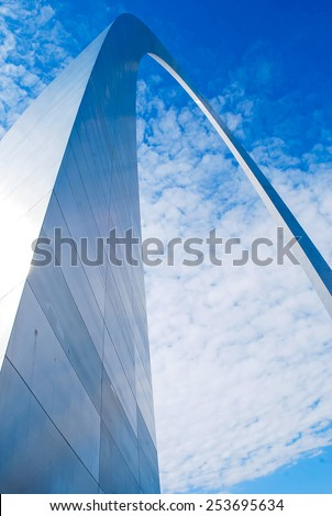 St. Louis Arch in Missouri with clouds and sky in background,Gateway to the West - stock photo
