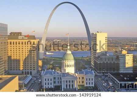 St. Louis arch with Old Courthouse and Mississippi River, MO - stock photo