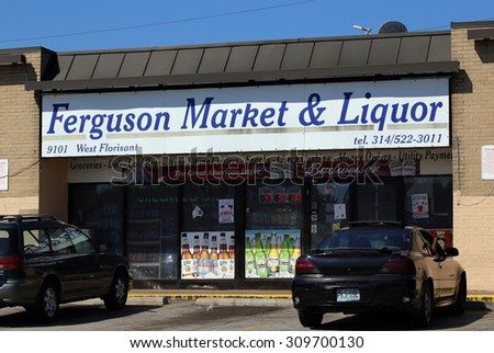 ST.LOUIS - AUGUST 21: Ferguson Market & Liquor in St. Louis, Missouri on August 21 2015. The store was allegedly robbed by Michael Brown which ultimately led to his death at the hands of the police. - stock photo
