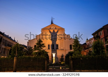 St. Louis Cathedral in the French Quarter, New Orleans, Louisiana at night - stock photo