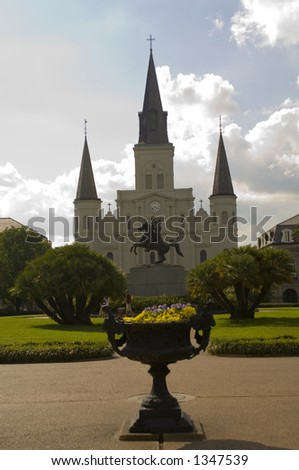 St. Louis Cathedral - Jackson Square - New Orleans, LA - stock photo