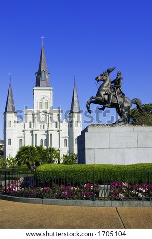 St. Louis Cathedral with the statue of General Jackson in Jackson Square New Orleans, Louisiana, United States - stock photo