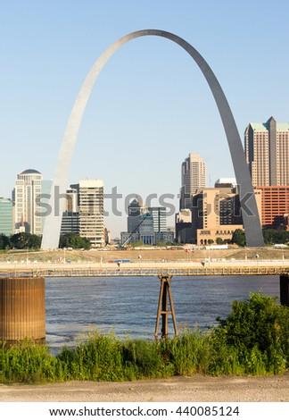 St Louis Missouri Downtown City Skyline Arch Gateway West - stock photo