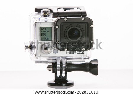 St Louis Missouri-June 26 2014: Photo of GoPro Hero 3 Camera. Gopro went public June 26 2014 on the NYSE as symbol GPRO. Best selling action mini HD camera in the world. - stock photo