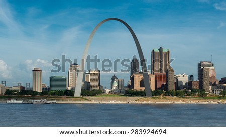 ST. LOUIS, MISSOURI - MAY 29: Downtown St. Louis from the Malcolm W. Martin Memorial Park on May 29, 2015 in East St. Louis, Illinois - stock photo