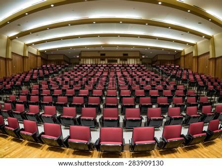 ST. LOUIS, MISSOURI - MAY 28: Jerzewiak Family Auditorium on the campus of Washington University on May 28, 2015 in St. Louis, Missouri  - stock photo