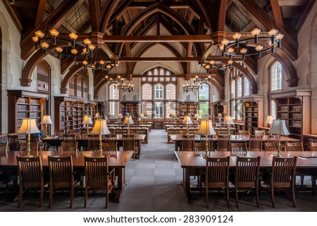 ST. LOUIS, MISSOURI - MAY 28: Law library on the campus of Washington University on May 28, 2015 in St. Louis, Missouri - stock photo