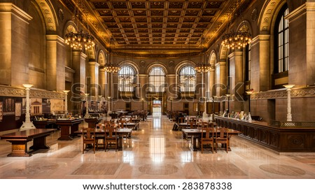ST. LOUIS, MISSOURI - MAY 27: Reading room in the St. Louis Central Public Library on Olive Street on May 27, 2015 in St. Louis, Missouri