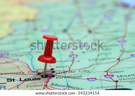 St Louis pinned on a map of USA  - stock photo