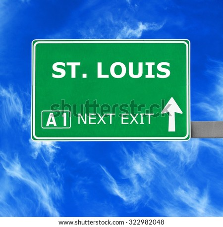 ST. LOUIS road sign against clear blue sky