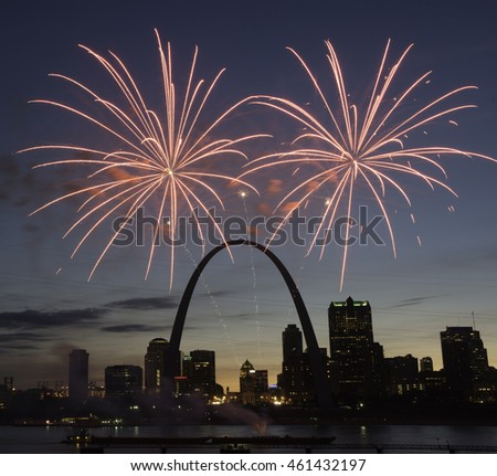 St. Louis Skyline at Night with Fireworks.