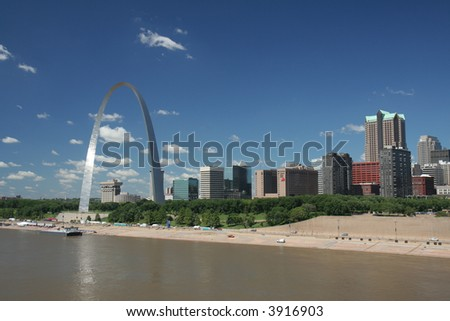 St Louis skyline including Gateway Arch - stock photo