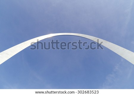 ST. LOUIS, USA - MAY 26, 2014: Looking up to the Gateway Arch shining in the sun.