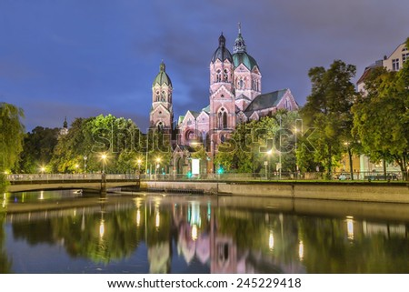 St. Luke Church, is the largest Protestant church in Munich, Germany - stock photo
