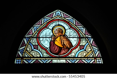 St. Madeline Stained Glass Color - stock photo