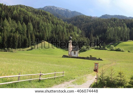 St Magdalena Village at the foot of the Dolomites Alps, a UNESCO world heritage, Italy - stock photo