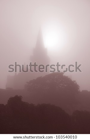 St Magnus Cathedral Church on the Orkney Islands, Scotland on a Misty Morning - stock photo