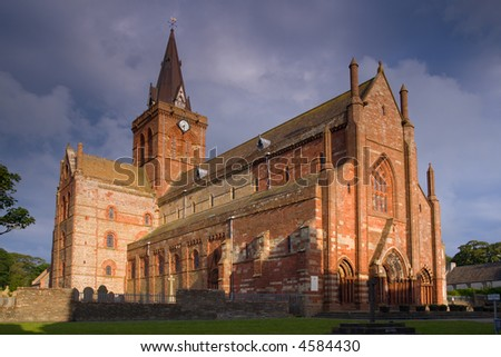 St Magnus Cathedral, Kirkwall, Orkney, in evening sunlight - stock photo
