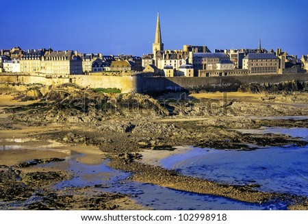 st-malo brittany france - stock photo